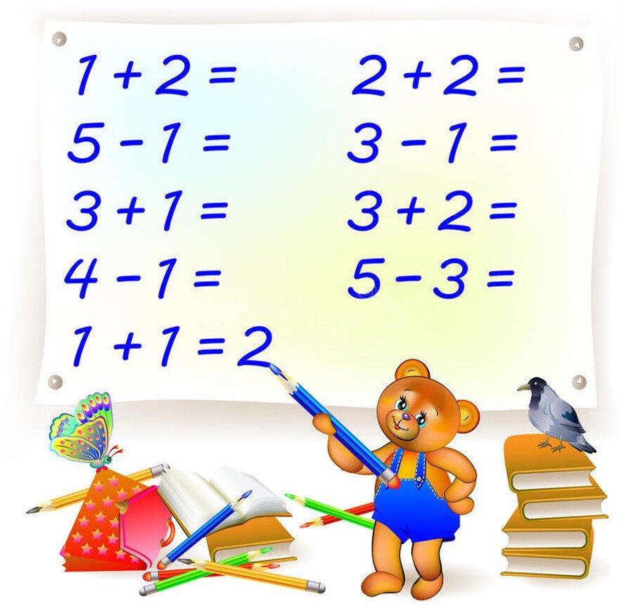 Примеры на сложение и вычитание в пределах 5. Реши примеры