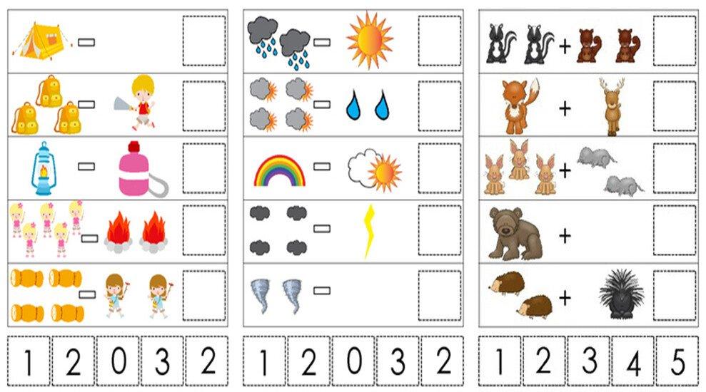 Примеры. Сложение и вычитание в картинках