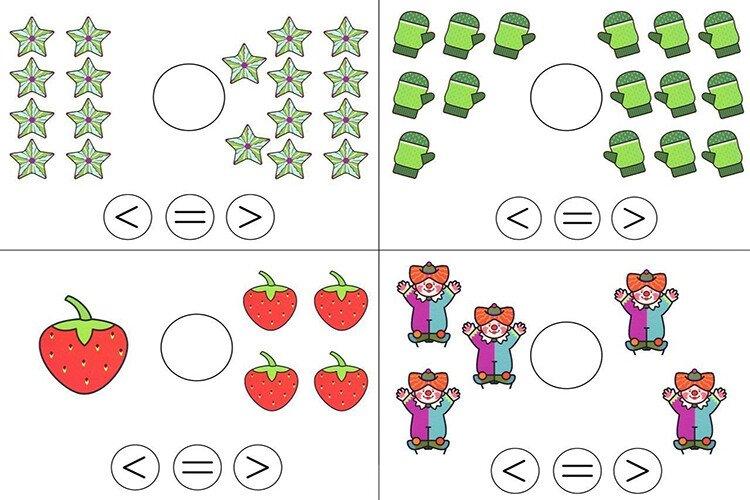 Задания на сравнение. Сравни количество предметов