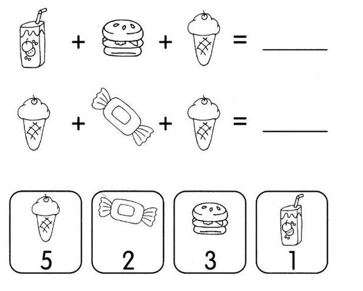 Примеры на сложение и вычитание в пределах 5. Зашифрованный пример
