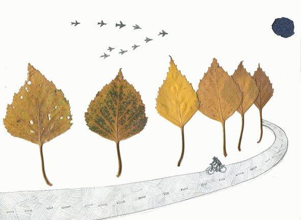 Аппликация дорога и деревья