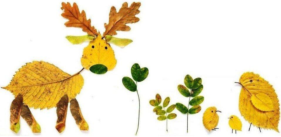 Осенние поделки из листьев для детей