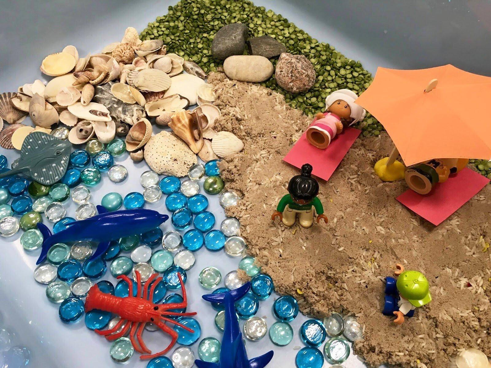 Состав сенсорной коробки пляж