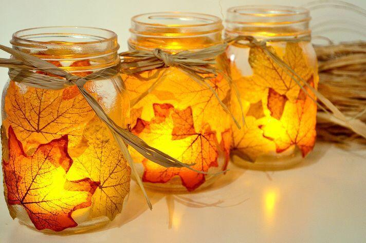поделка светильники из листьев
