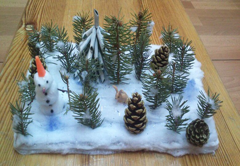 Поделка зимний лес своими руками