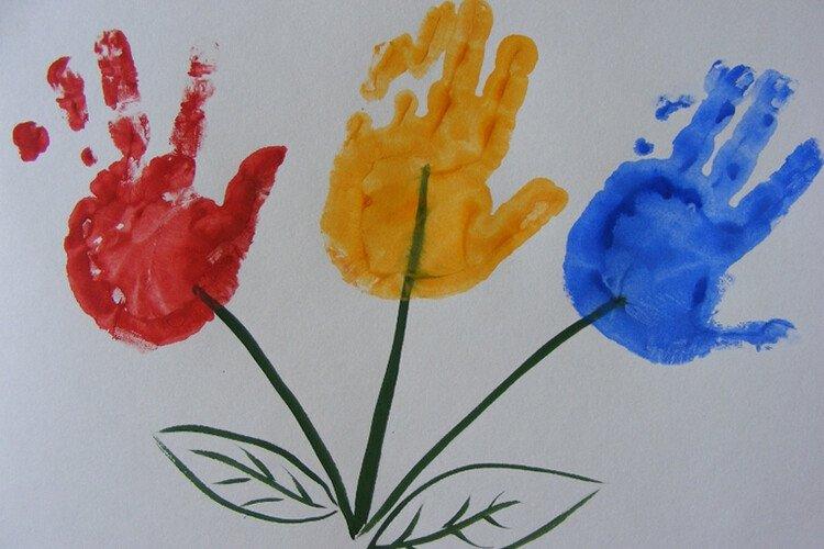 Рисование пальчиками цветы