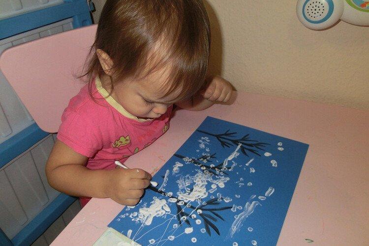 Рисование ватными палочками для детей