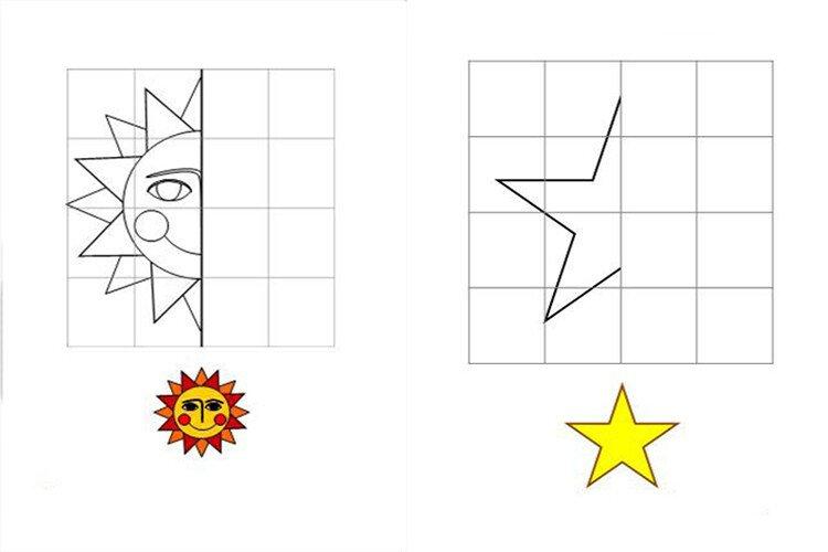 Изучение геометрических фигур. Дорисуй геометрические фигуры