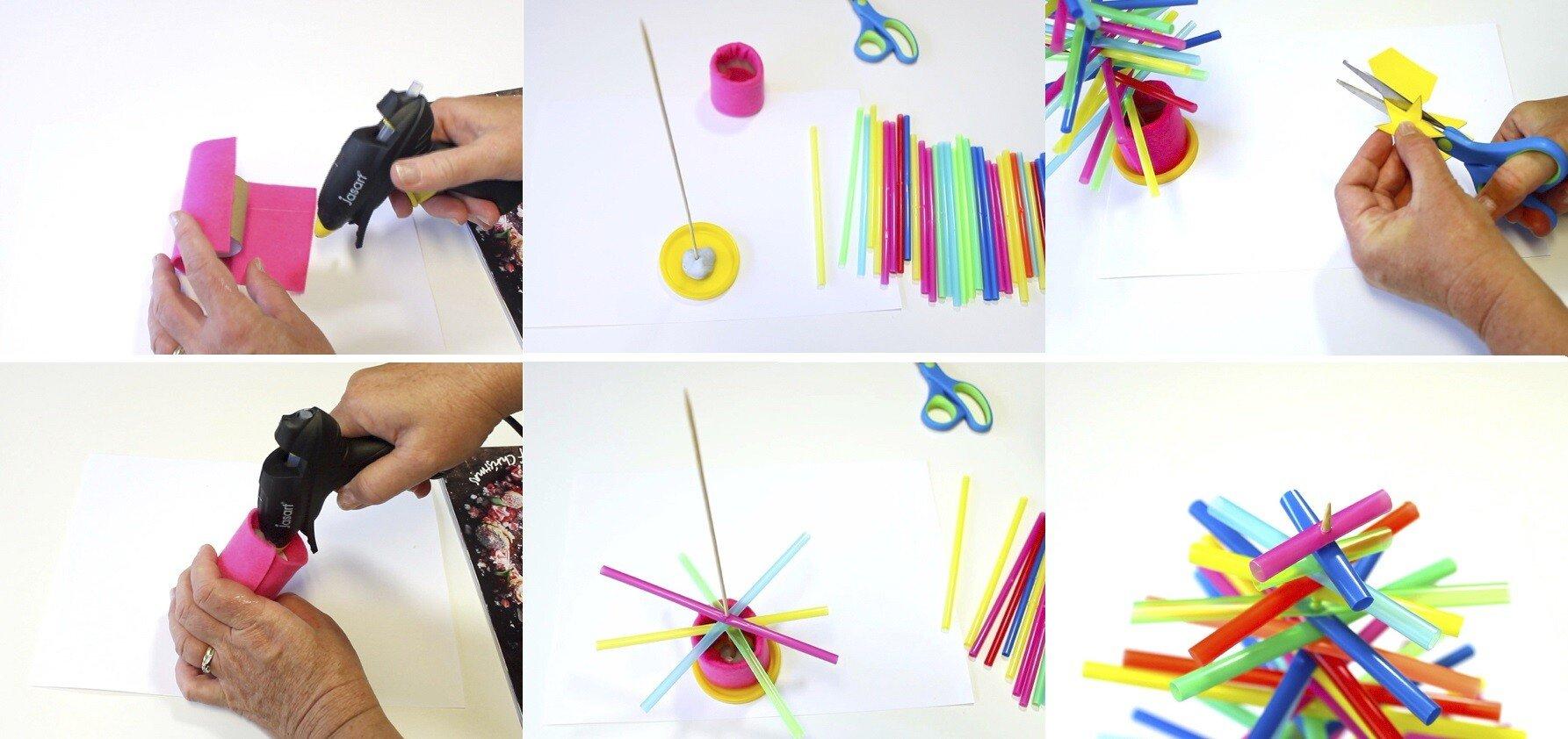 Поделка в детский сад. Как делать ёлочку из трубочек