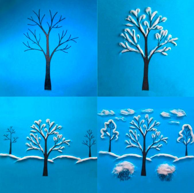 ак делать поделку заснеженные деревья