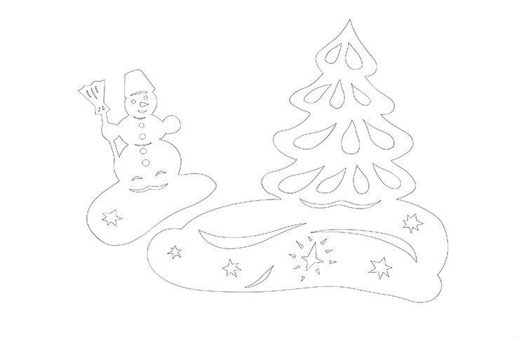 овогодняя вытынанка своими руками снеговик