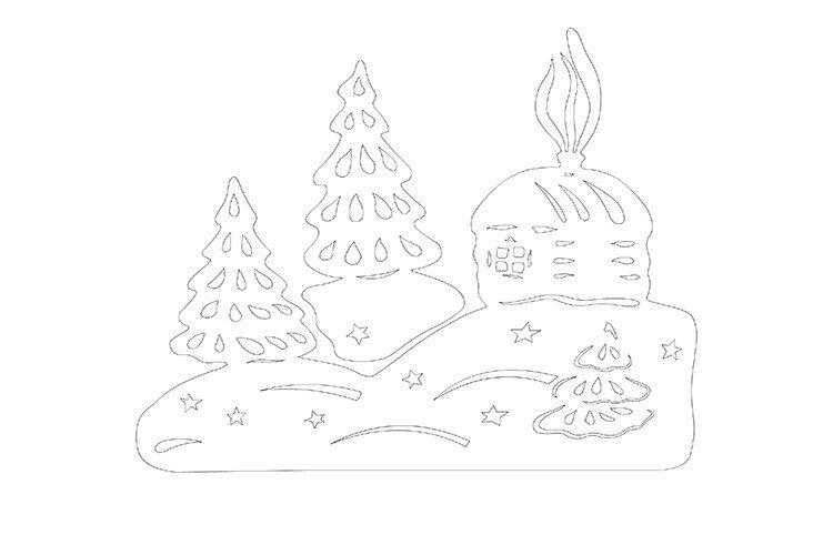 Новогодняя вытынанка своими руками зимний пейзаж