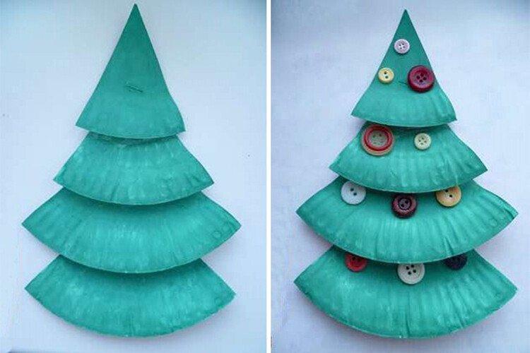 Поделка в детский сад. Новогодняя ёлочка из одноразовых тарелок