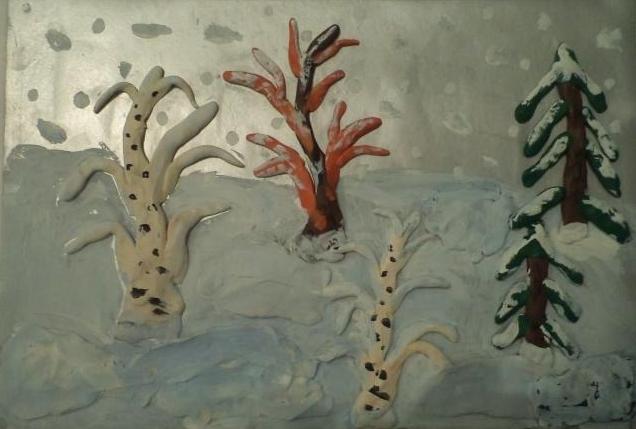Рисуем ёлочки с помощью пластилина