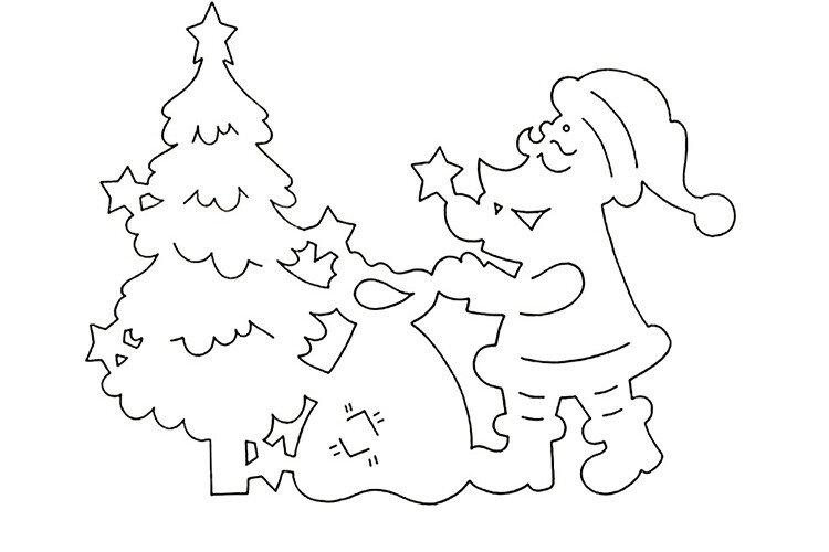 Вытынанка своими руками Дед мороз