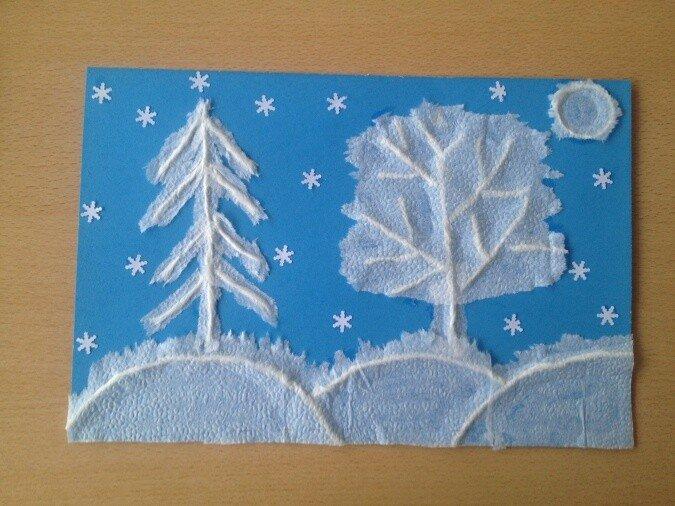 Бумагопластика. Зимний лес