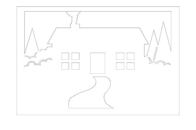 Вытынанка своими руками зимний пейзаж дом