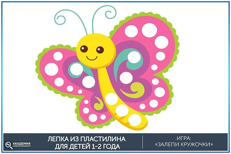 Залепи кружочки на бабочке