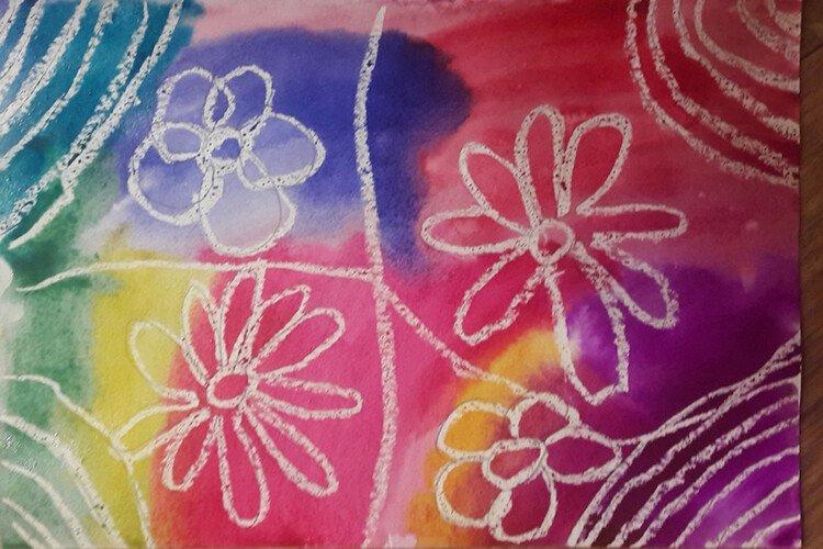 Рисуем цветы воском