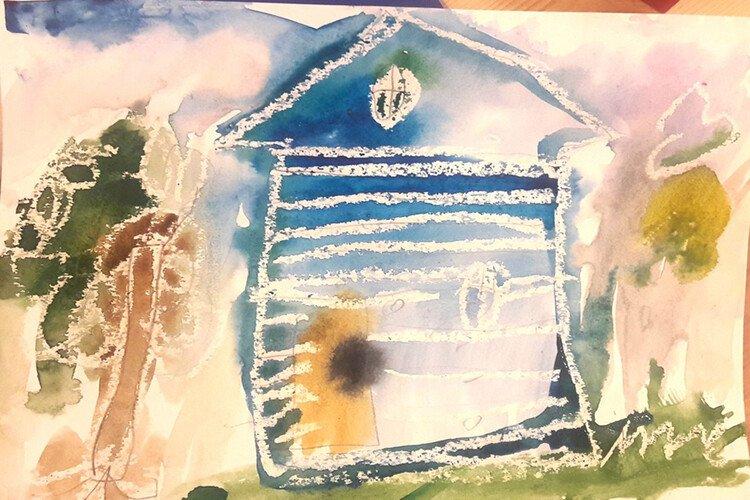 Рисуем дом воском