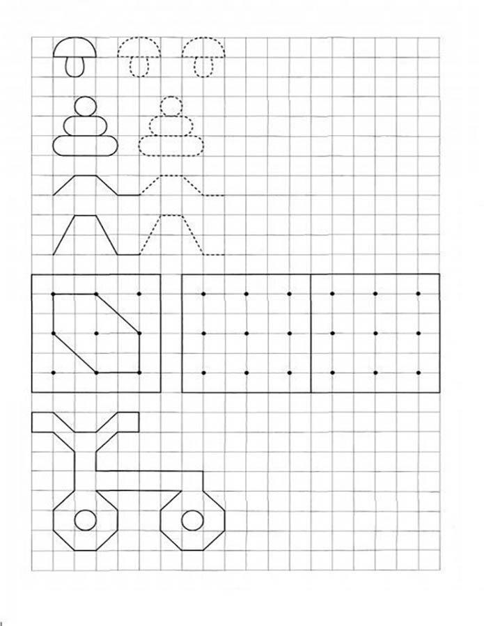 Графические задания: дорисуй по клеткам