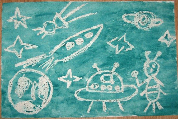 Рисуем космос воском
