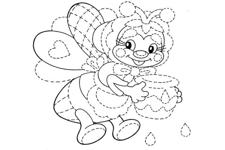 Графическое упражнение обведи по контуру пчелу