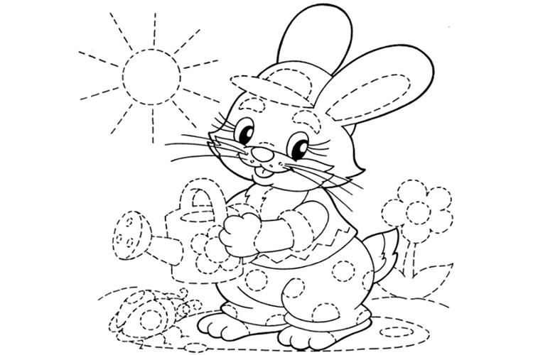 Графическое упражнение обведи по контуру зайку