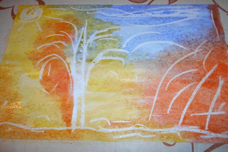 Рисуем осень воском