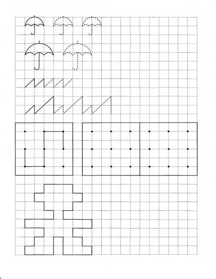 Графические задания: повтори рисунок по клеткам