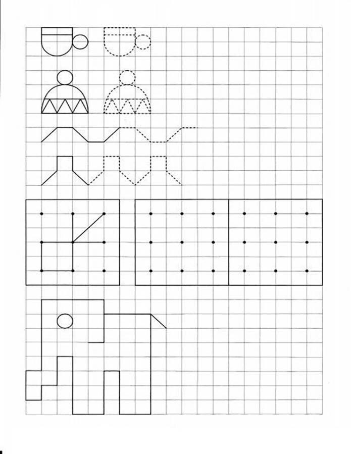 Графические задания: повтори рисунок