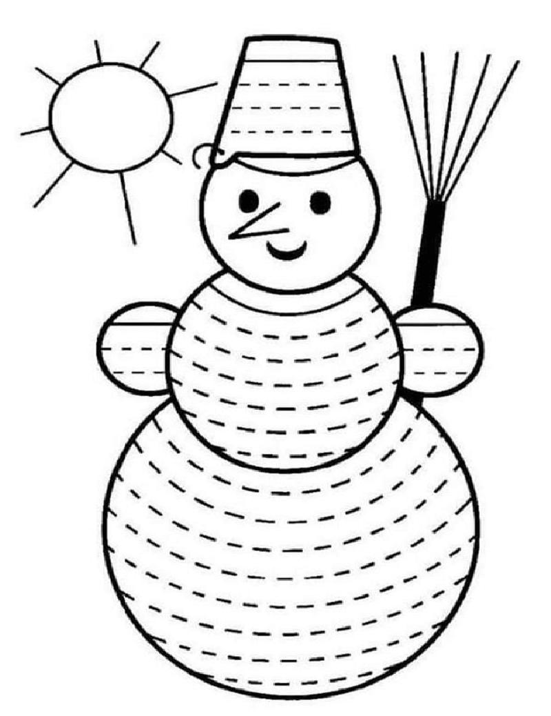 Сделай штриховку снеговика