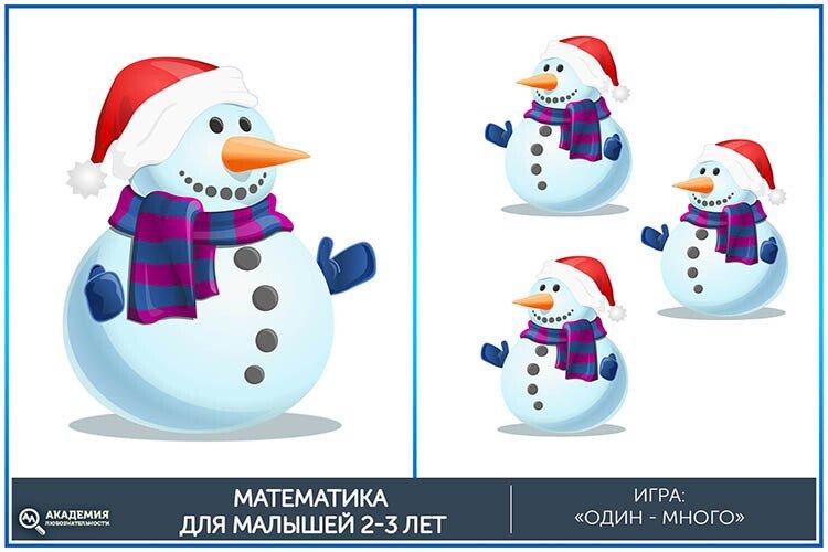 Математическая игра один-много Снеговики