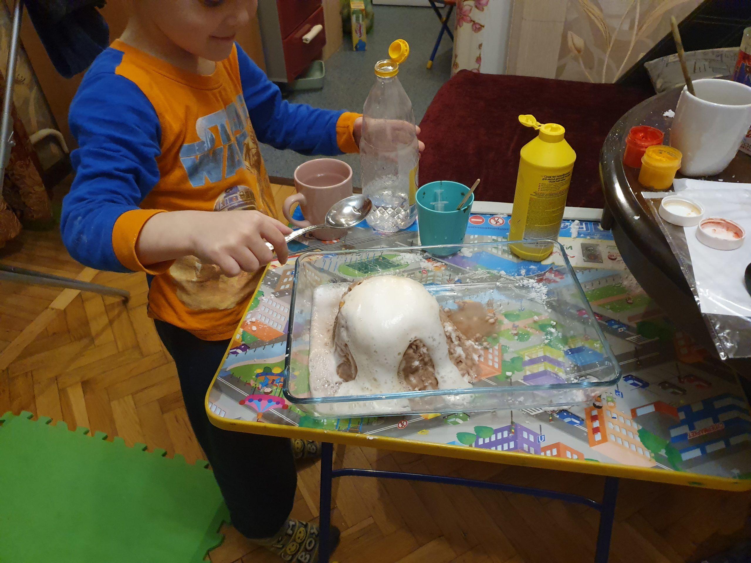 Извержение вулкана своими руками в домашних условиях
