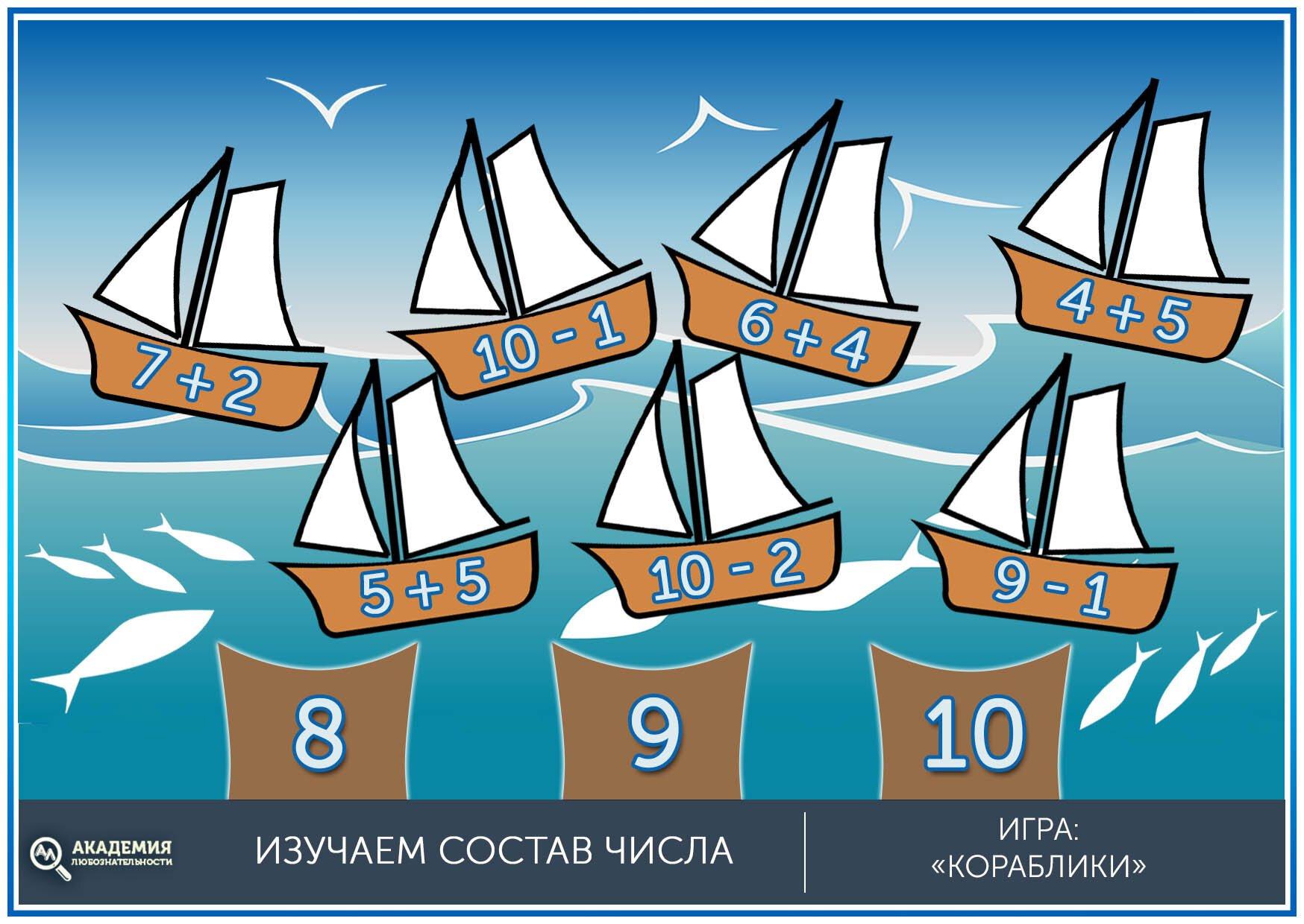 Состав числа математическая игра для детей кораблики