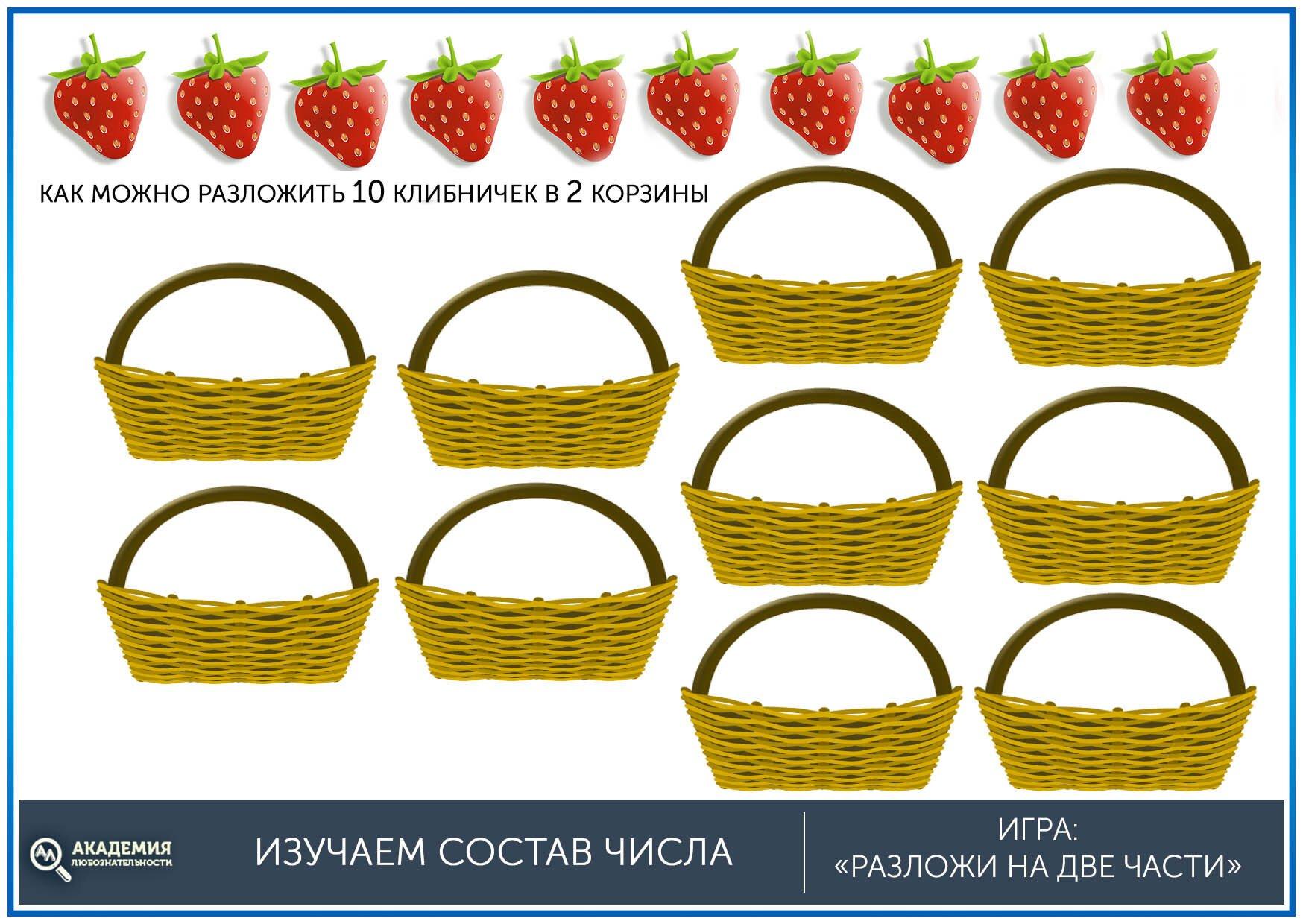 Задание разложи ягоды по корзинам