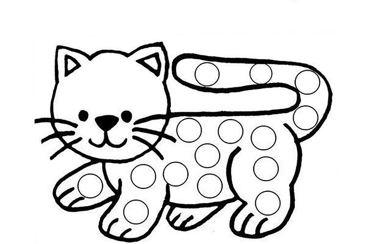 Шаблон для рисования пальчиками котёнок