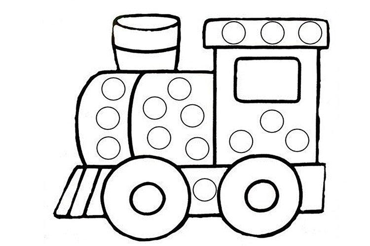 Шаблон для рисования пальчиками паровоз