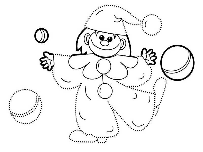 Рисуем по точкам клоуна с ребёнком 3-4 лет