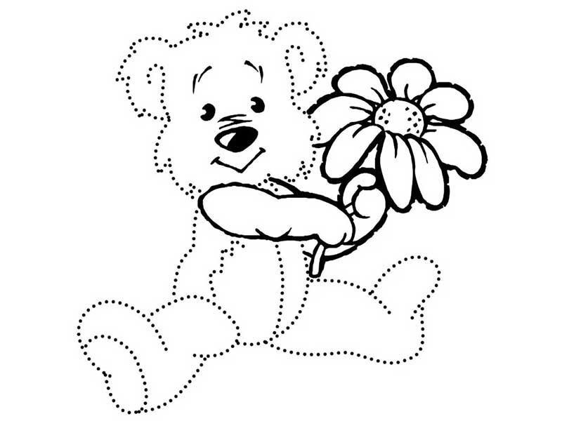 Рисуем по точкам медвежонка с ребёнком 3-4 лет