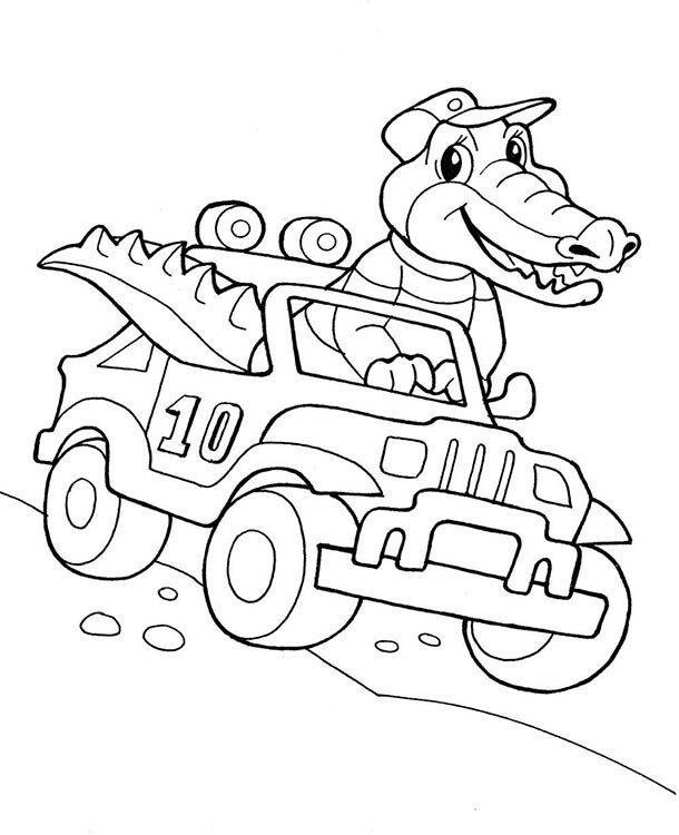 Раскраска для детей 5-6 лет Крокодил в автомобиле