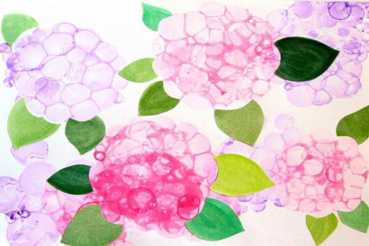 Рисование мыльными пузырями с детьми Цветы