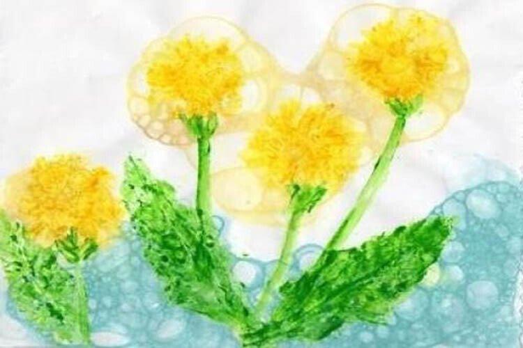 Рисование мыльными пузырями с детьми Одуванчики