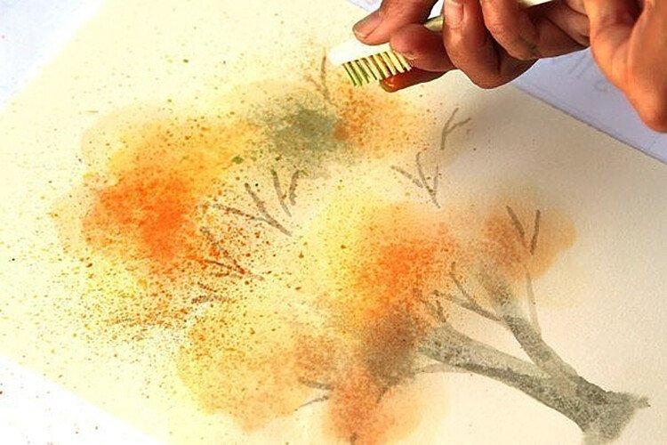 Рисование набрызгом с детьми Осеннее дерево