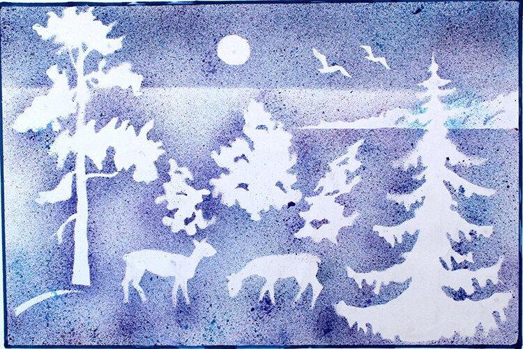 Рисование набрызгом с детьми Зима