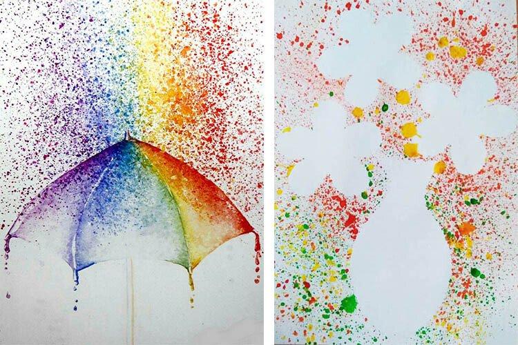 Рисование набрызгом с детьми Зонтик и цветы