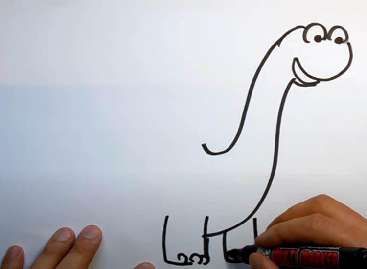 Рисуем динозавра с детьми 2 этап
