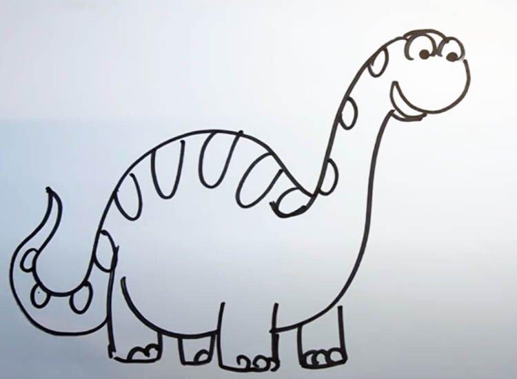 Рисуем динозавра с детьми 5 этап