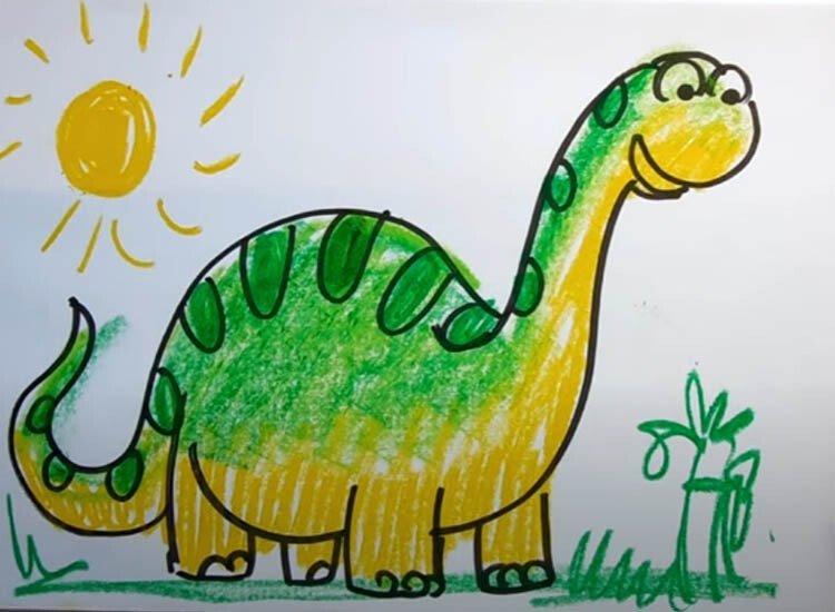 Рисуем динозавра с детьми 6 этап