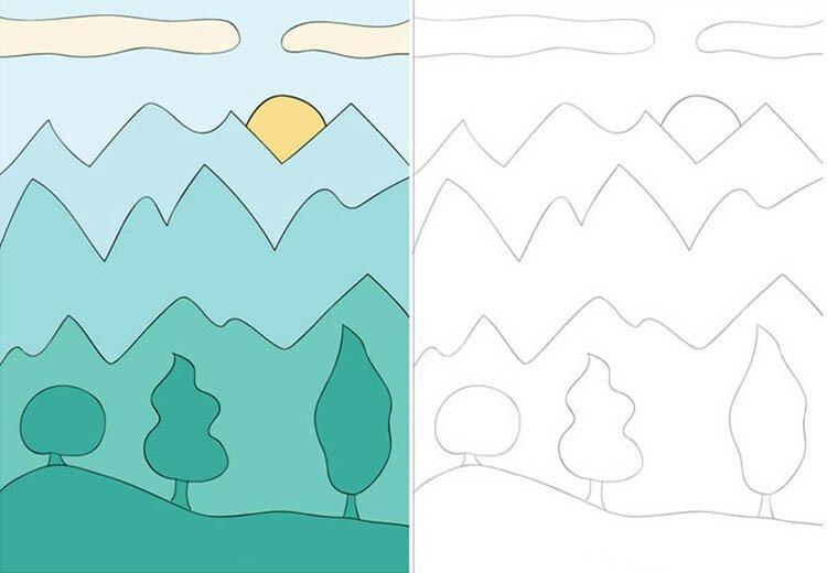 Рисуем воздушную перспективу с ребёнком